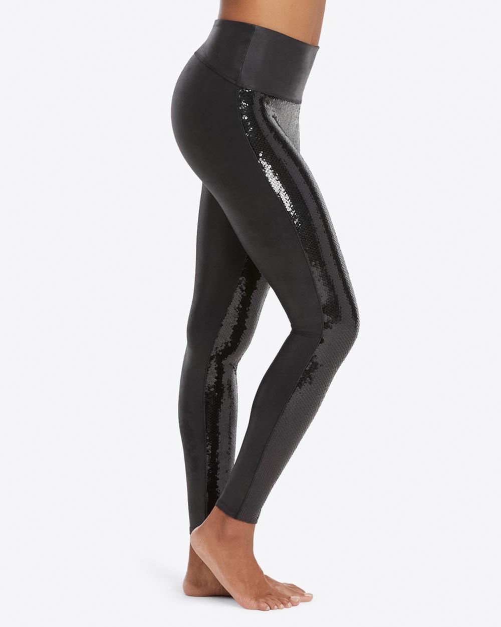 66cd06bbad171 Faux Leather Sequin Leggings | Inner Secrets